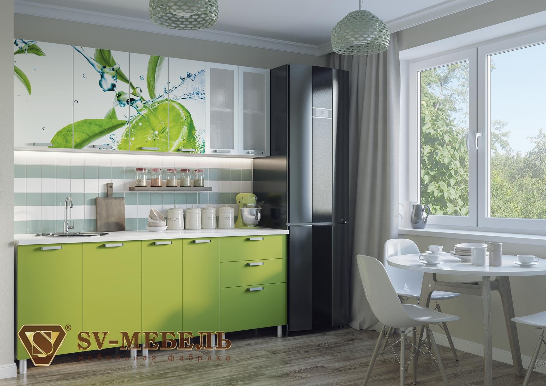 Кухонный гарнитур с фотопечатью (2 м)