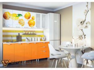 Кухонный гарнитур с фотопечатью (1,8 м)  (Яблоко, Апельсин, Маки)