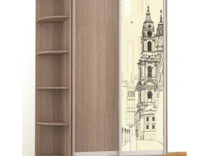 Шкаф-купе Комфорт-2 люкс (1200мм) (1 стекло)(рисунок Часовня)