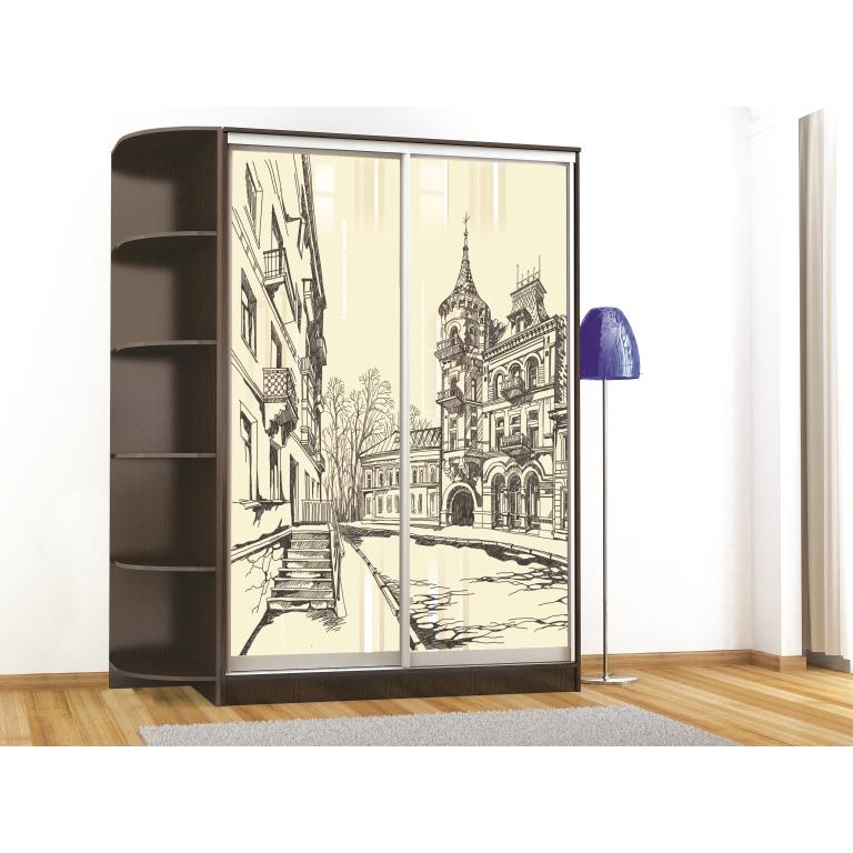 Шкаф-купе Комфорт-2 люкс (1200мм) (2 стекла)(рисунок Город)