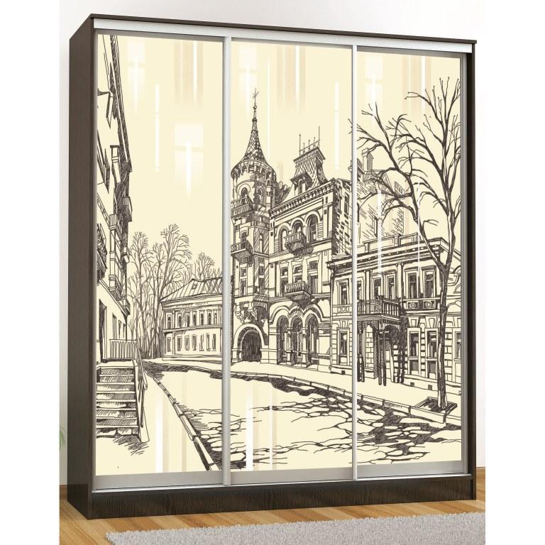 Шкаф-купе Комфорт-3 люкс (1850 мм) (3 стекла)(рисунок Город)