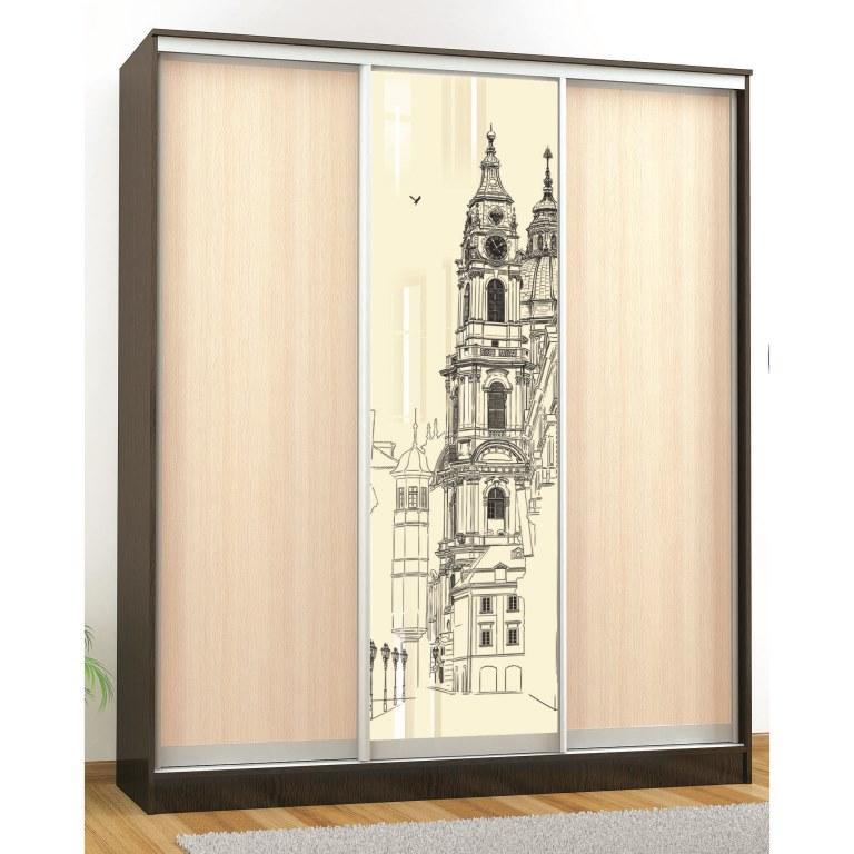 Шкаф-купе комфорт-3 люкс (1850 мм) (1 стекло)(рисунок Часовня)