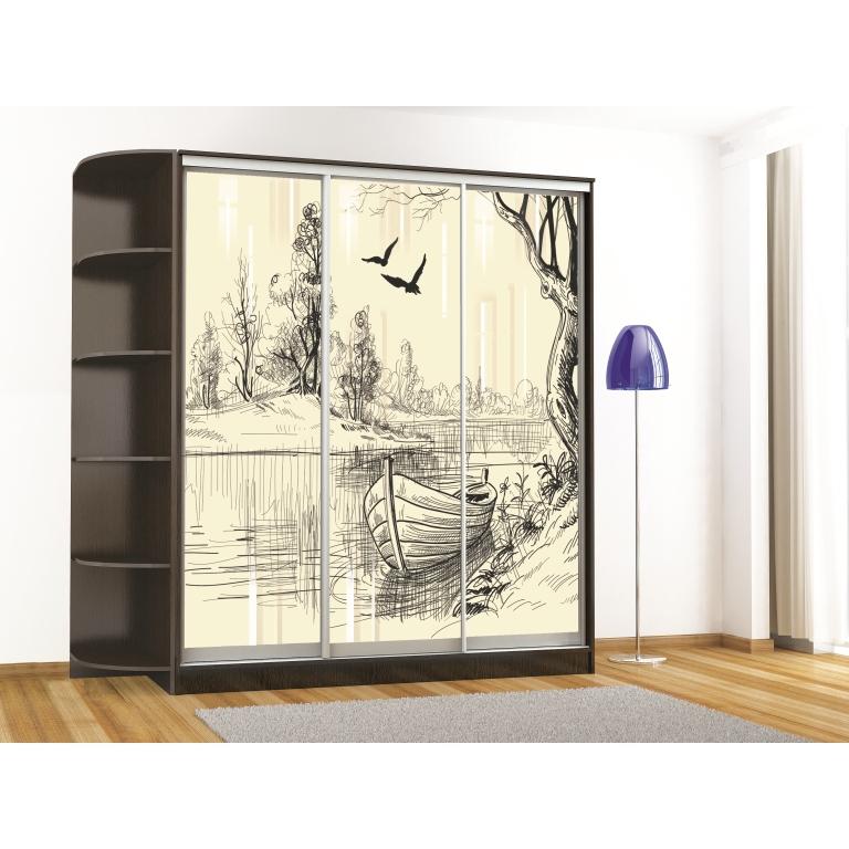 Шкаф-купе Комфорт-3 люкс (1850 мм) (3 стекла)(рисунок Лодка)