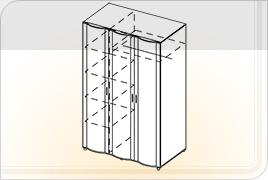 Шкаф 3х створчатый с зеркалом ШК-Z