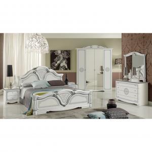 Комплект состоящий из : кровать (спальное место 1600*2000 мм), тумба прикроватная — 2 шт., комод с зеркалом, шкаф 4-х дверный.