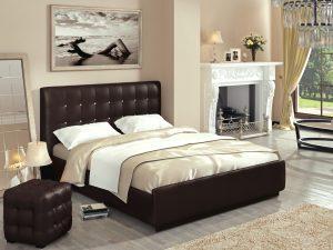 Интерьерная кожаная кровать Лорена