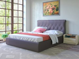 Интерьерная кожаная кровать Тиффани 3011