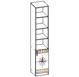 Шкаф стеллаж с дверью 402*436*2113 мм