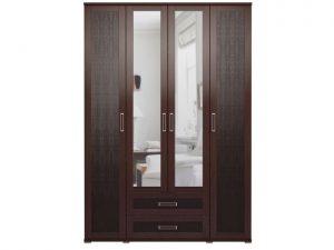 1 Шкаф для одежды с ящиками 4-х дверный (с зеркалами) «Аргентина»