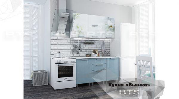 Кухня 1,5м Бьянка (голубые блестки/фотопечать)