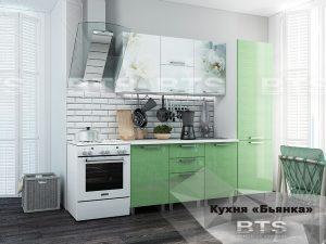 Кухня 2,1м Бьянка (салатовые блестки/фотопечать)
