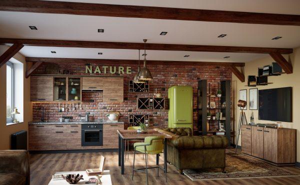 Nature кухня 2,6 м (столешница, карниз, цоколь - входят в стоимость), готовый комплект