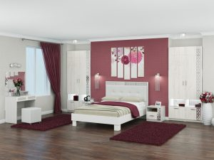Спальня «Белла» Рамух белый. Комплект 1