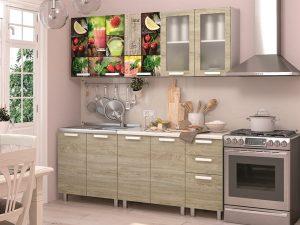 Кухня 2,0м Санрайс (Дуб софт тач /белый глянец)