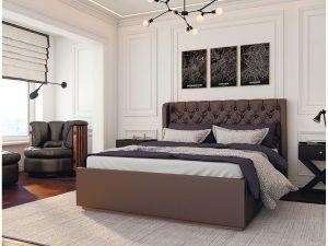 Кровать Франческа 1,6  с настилом ЛДСП, Шоколад